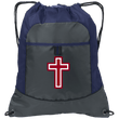 Load image into Gallery viewer, CustomCat Drawstring Bag Deep Smoke/True Navy / One Size Red & White Cross BG611 Pocket Cinch Pack (4 Variants)