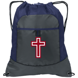 CustomCat Drawstring Bag Deep Smoke/True Navy / One Size Red & White Cross BG611 Pocket Cinch Pack (4 Variants)