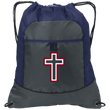 Load image into Gallery viewer, CustomCat Drawstring Bag Deep Smoke/True Navy / One Size Red & White Cross With Transparent Interior BG611 Pocket Cinch Pack (4 Variants)