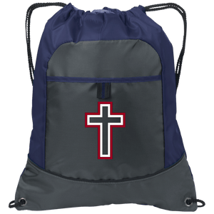 CustomCat Drawstring Bag Deep Smoke/True Navy / One Size Red & White Cross With Transparent Interior BG611 Pocket Cinch Pack (4 Variants)