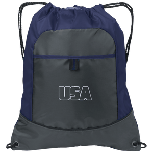 CustomCat Drawstring Bag Deep Smoke/True Navy / One Size Transparent USA Port Authority Pocket Cinch Drawstring Pack (7 Variants)