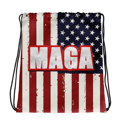American Patriots Apparel Drawstring Bag Distressed American Flag MAGA Drawstring Bag