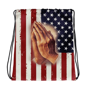 American Patriots Apparel Drawstring Bag Distressed American Flag Praying Hands Drawstring Bag