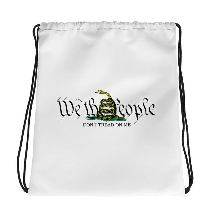 American Patriots Apparel Drawstring Bag One Size / White We The People Gadsden Flag Don't Tread On Me Drawstring Bag
