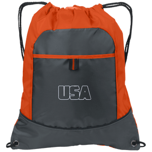 CustomCat Drawstring Bag Pop Orange/Deep Smoke / One Size Transparent USA Port Authority Pocket Cinch Drawstring Pack (7 Variants)