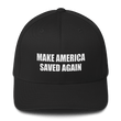 Load image into Gallery viewer, American Patriots Apparel Flexfit Hat Black / S/M White Text MAKE AMERICA SAVED AGAIN 1 Cor. 15:1-4 Flexfit Structured Twill Cap (7 Variants)