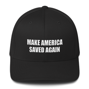 American Patriots Apparel Flexfit Hat Black / S/M White Text MAKE AMERICA SAVED AGAIN 1 Cor. 15:1-4 Flexfit Structured Twill Cap (7 Variants)