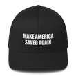 Load image into Gallery viewer, American Patriots Apparel Flexfit Hat Black / S/M White Text MAKE AMERICA SAVED AGAIN Multiple Bible Verses Flexfit Structured Twill Cap (7 Variants)