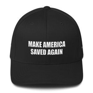 American Patriots Apparel Flexfit Hat Black / S/M White Text MAKE AMERICA SAVED AGAIN Multiple Bible Verses Flexfit Structured Twill Cap (7 Variants)
