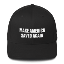 Load image into Gallery viewer, American Patriots Apparel Flexfit Hat Black / S/M White Text MAKE AMERICA SAVED (Underlined) AGAIN Multiple Bible Verses Flexfit Hat (7 Variants)