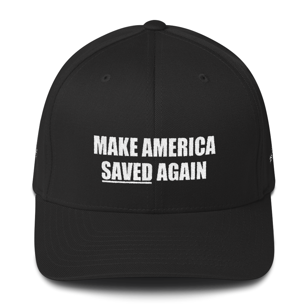 American Patriots Apparel Flexfit Hat Black / S/M White Text MAKE AMERICA SAVED (Underlined) AGAIN Multiple Bible Verses Flexfit Hat (7 Variants)