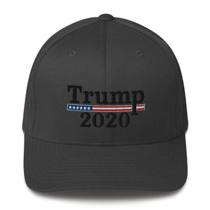 American Patriots Apparel Flexfit Hat Dark Grey / S/M Trump 2020 Black Text Flexfit Structured Twill Hat (7 Variants)