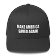 Load image into Gallery viewer, American Patriots Apparel Flexfit Hat Dark Grey / S/M White Text MAKE AMERICA SAVED AGAIN 1 Cor. 15:1-4 Flexfit Structured Twill Cap (7 Variants)