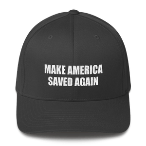 American Patriots Apparel Flexfit Hat Dark Grey / S/M White Text MAKE AMERICA SAVED AGAIN 1 Cor. 15:1-4 Flexfit Structured Twill Cap (7 Variants)