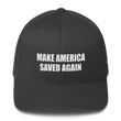Load image into Gallery viewer, American Patriots Apparel Flexfit Hat Dark Grey / S/M White Text MAKE AMERICA SAVED AGAIN Multiple Bible Verses Flexfit Structured Twill Cap (7 Variants)
