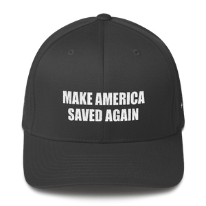 American Patriots Apparel Flexfit Hat Dark Grey / S/M White Text MAKE AMERICA SAVED AGAIN Multiple Bible Verses Flexfit Structured Twill Cap (7 Variants)