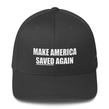 Load image into Gallery viewer, American Patriots Apparel Flexfit Hat Dark Grey / S/M White Text MAKE AMERICA SAVED (Underlined) AGAIN Multiple Bible Verses Flexfit Hat (7 Variants)