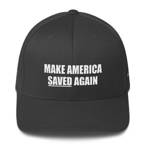 American Patriots Apparel Flexfit Hat Dark Grey / S/M White Text MAKE AMERICA SAVED (Underlined) AGAIN Multiple Bible Verses Flexfit Hat (7 Variants)