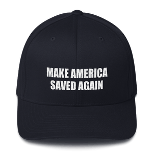 American Patriots Apparel Flexfit Hat Dark Navy / S/M White Text MAKE AMERICA SAVED AGAIN 1 Cor. 15:1-4 Flexfit Structured Twill Cap (7 Variants)