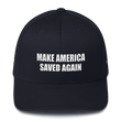 Load image into Gallery viewer, American Patriots Apparel Flexfit Hat Dark Navy / S/M White Text MAKE AMERICA SAVED AGAIN Multiple Bible Verses Flexfit Structured Twill Cap (7 Variants)