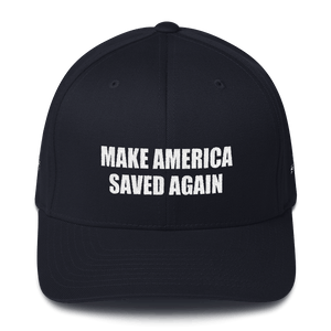 American Patriots Apparel Flexfit Hat Dark Navy / S/M White Text MAKE AMERICA SAVED AGAIN Multiple Bible Verses Flexfit Structured Twill Cap (7 Variants)