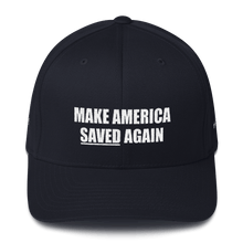 Load image into Gallery viewer, American Patriots Apparel Flexfit Hat Dark Navy / S/M White Text MAKE AMERICA SAVED (Underlined) AGAIN Multiple Bible Verses Flexfit Hat (7 Variants)