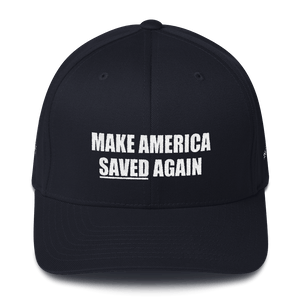 American Patriots Apparel Flexfit Hat Dark Navy / S/M White Text MAKE AMERICA SAVED (Underlined) AGAIN Multiple Bible Verses Flexfit Hat (7 Variants)