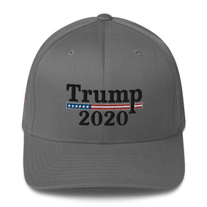 American Patriots Apparel Flexfit Hat Grey / S/M Trump 2020 Black Text Flexfit Structured Twill Hat (7 Variants)