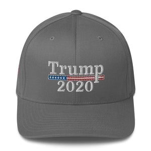American Patriots Apparel Flexfit Hat Grey / S/M Trump 2020 White Text Flexfit Structured Twill Hat (7 Variants)