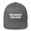 Load image into Gallery viewer, American Patriots Apparel Flexfit Hat Grey / S/M White Text MAKE AMERICA SAVED AGAIN 1 Cor. 15:1-4 Flexfit Structured Twill Cap (7 Variants)