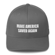 Load image into Gallery viewer, American Patriots Apparel Flexfit Hat Grey / S/M White Text MAKE AMERICA SAVED AGAIN Multiple Bible Verses Flexfit Structured Twill Cap (7 Variants)