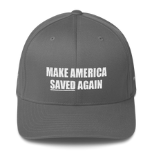 Load image into Gallery viewer, American Patriots Apparel Flexfit Hat Grey / S/M White Text MAKE AMERICA SAVED (Underlined) AGAIN Multiple Bible Verses Flexfit Hat (7 Variants)