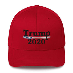 American Patriots Apparel Flexfit Hat Red / S/M Trump 2020 Black Text Flexfit Structured Twill Hat (7 Variants)