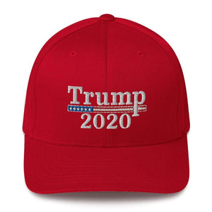 American Patriots Apparel Flexfit Hat Red / S/M Trump 2020 White Text Flexfit Structured Twill Hat (7 Variants)