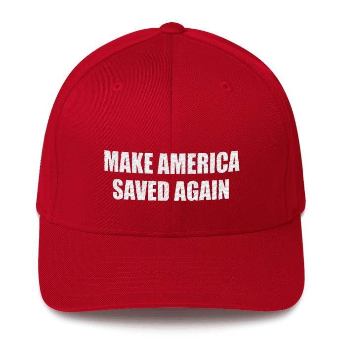 American Patriots Apparel Flexfit Hat Red / S/M White Text MAKE AMERICA SAVED AGAIN 1 Cor. 15:1-4 Flexfit Structured Twill Cap (7 Variants)