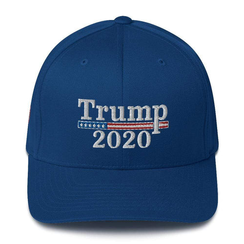 American Patriots Apparel Flexfit Hat Royal Blue / S/M Trump 2020 White Text Flexfit Structured Twill Hat (7 Variants)