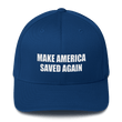 Load image into Gallery viewer, American Patriots Apparel Flexfit Hat Royal Blue / S/M White Text MAKE AMERICA SAVED AGAIN 1 Cor. 15:1-4 Flexfit Structured Twill Cap (7 Variants)