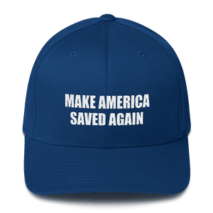 American Patriots Apparel Flexfit Hat Royal Blue / S/M White Text MAKE AMERICA SAVED AGAIN 1 Cor. 15:1-4 Flexfit Structured Twill Cap (7 Variants)