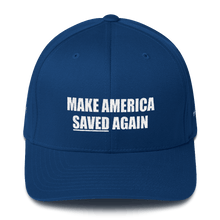 Load image into Gallery viewer, American Patriots Apparel Flexfit Hat Royal Blue / S/M White Text MAKE AMERICA SAVED (Underlined) AGAIN Multiple Bible Verses Flexfit Hat (7 Variants)