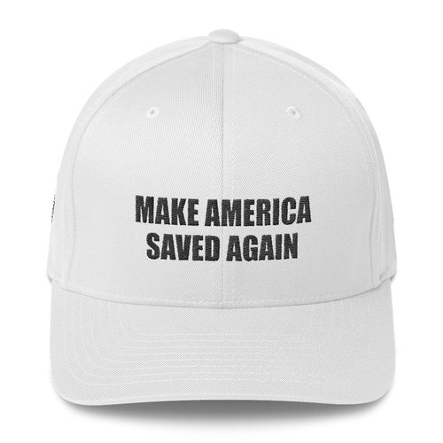 American Patriots Apparel Flexfit Hat White / S/M Black Text MAKE AMERICA SAVED AGAIN 1 Cor. 15:1-4 Flexfit Hat (7 Variants)