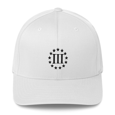 American Patriots Apparel Flexfit Hat White / S/M III% Patriot Live Free or Die Structured Twill Flexfit Cap (7 Variants)