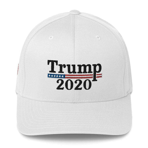 American Patriots Apparel Flexfit Hat White / S/M Trump 2020 Black Text Flexfit Structured Twill Hat (7 Variants)