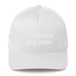 Load image into Gallery viewer, American Patriots Apparel Flexfit Hat White / S/M White Text MAKE AMERICA SAVED AGAIN 1 Cor. 15:1-4 Flexfit Structured Twill Cap (7 Variants)