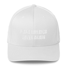 Load image into Gallery viewer, American Patriots Apparel Flexfit Hat White / S/M White Text MAKE AMERICA SAVED (Underlined) AGAIN Multiple Bible Verses Flexfit Hat (7 Variants)