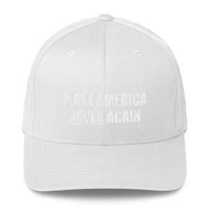 American Patriots Apparel Flexfit Hat White / S/M White Text MAKE AMERICA SAVED (Underlined) AGAIN Multiple Bible Verses Flexfit Hat (7 Variants)