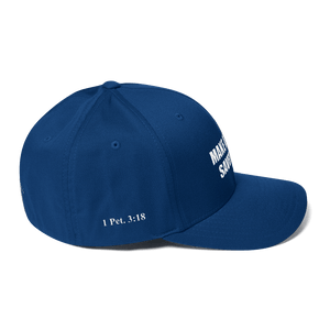 American Patriots Apparel Flexfit Hat White Text MAKE AMERICA SAVED AGAIN Multiple Bible Verses Flexfit Structured Twill Cap (7 Variants)