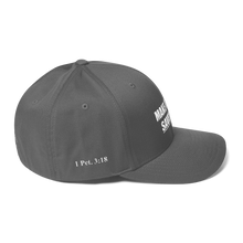 Load image into Gallery viewer, American Patriots Apparel Flexfit Hat White Text MAKE AMERICA SAVED (Underlined) AGAIN Multiple Bible Verses Flexfit Hat (7 Variants)