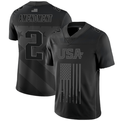 Print Brains Football Jersey Team USA 2nd Amend Football Jrsy Blackout Edition / Black / S Team USA 2nd Amend Football Jersey Blackout Edition