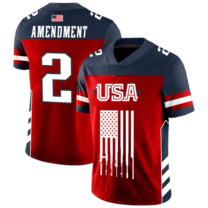 Print Brains Football Jersey Team USA 2nd Amendment Football Jersey v2 / S Team USA 2nd Amendment Football Jersey v2