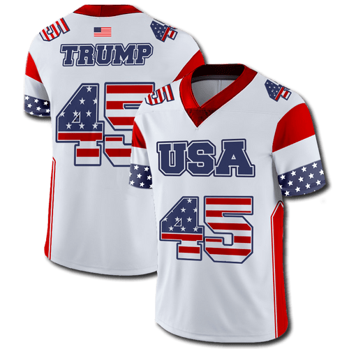 Print Brains Football Jersey Trump #45 Football Jersey / White / S Trump #45 Football Jersey